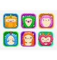 App icons with funny cartoon colorful monsters vector image vector image