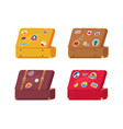 back of leather vintage suitcase with decorations vector image vector image