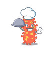 bacteroides chef cartoon character serving food vector image vector image