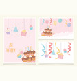 birthday cake with candles ribbon balloons cupcake vector image vector image
