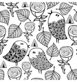 Black and white seamless pattern with birds and vector image