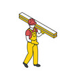 builder with timber composition vector image vector image