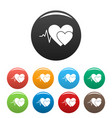 cardiology icons set color vector image vector image