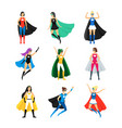 cartoon female superhero characters icon set vector image