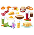 collection of breakfast food icon isolated vector image vector image