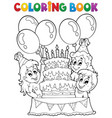coloring book kids party theme 2 vector image vector image