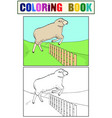 coloring for children and color the sheep jumps vector image