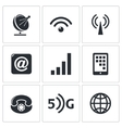 Communication and connection icons set vector image vector image