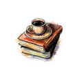 composition a stack books and a cup vector image