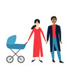 couple with bain a stroller vector image vector image
