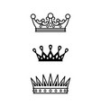 crowns black line icons collection vector image vector image