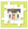 dream house concept with completed puzzle house vector image vector image