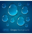 Drops of liquid on blue background vector image