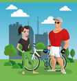 fitness couple at park cartoon vector image