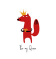 fox in crown holding heart vector image vector image
