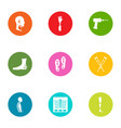 fracture icons set flat style vector image vector image