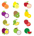 Fruits and piece of fruits icons vector image vector image