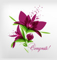 greeting card flowers on white background vector image vector image