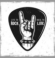 guitar pick with heavy metal horns hand gesture vector image vector image