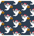halloween ghost pattern vector image vector image