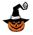halloween pumpkin in witch hat design element vector image vector image