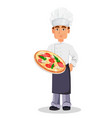 handsome baker in professional uniform vector image vector image