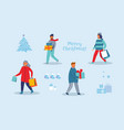 happy characters shopping on winter holidays vector image vector image