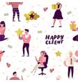 happy client cartoons seamless pattern vector image vector image