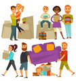home move people moving from house flat vector image