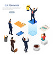 isometric business teamwork success concept vector image