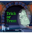King Ghost in the castle and text trick or treat vector image