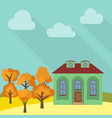 lone house in a field with an yellow tree vector image vector image