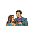 man and woman car gift isolate on white vector image vector image