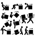 man moving box actions postures stick figure vector image vector image
