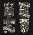 motorcycle vintage labels vector image vector image