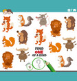 one a kind game with animal characters vector image vector image