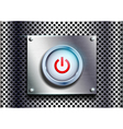 power button on a metal background vector image vector image