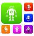 retro robot set color collection vector image vector image