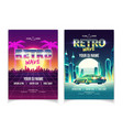 retro wave music performance flyer template vector image
