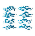 river water waves silhouettes vector image vector image