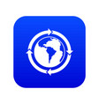 round arrows around world planet icon digital blue vector image