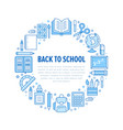 School supplies circle template with line icons