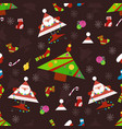 seamless new year pattern on a brown background vector image vector image