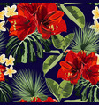 seamless pattern red lilies plumeria flowers vector image vector image