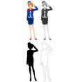 set flight attendant character vector image