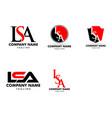 set initial letter lsa logo template design vector image vector image