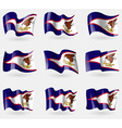 Set of American Samoa flags in the air vector image vector image