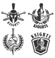 set of the emblems with knights helmets and vector image vector image