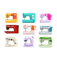 sewing machine set modern machine in different vector image vector image