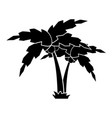 silhouette of a cartoon palm tree on the grass vector image vector image